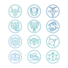 Line icons Zodiac signs vector set. Colorful horoscope emblems isolated on white illustration