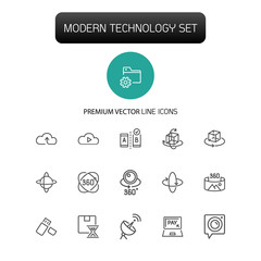 Modern technology icons. Set of line icons. Cloud service, VR camera, data storage. Technology concept. Vector illustration can be used for topics like digital device, photography, virtual reality.