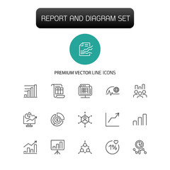 Report and diagram icons. Set of  line icons. Data, presentation, analytics. Diagram concept. Vector illustration can be used for topics like economics, finance, accounting.