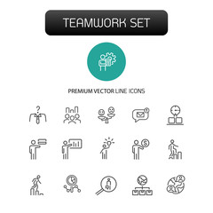 Teamwork icons. Set of  line icons. Head hunting, presentation, new idea. Teamwork concept. Vector illustration can be used for topics like management, leadership, career promotion.