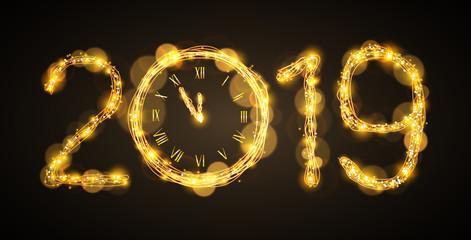 elegant 2019 with glowing clock
