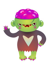 Cheerful ugly green monster with open pink brain. Waving, hand, welcome, cartoon. Halloween concept. Can be used for greeting cards, posters, leaflets and brochure