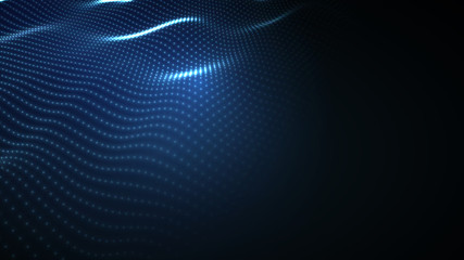 In de dag Abstract wave 3D glowing abstract digital wave particles. Futuristic illustration. HUD element. Technology concept. Abstract background.