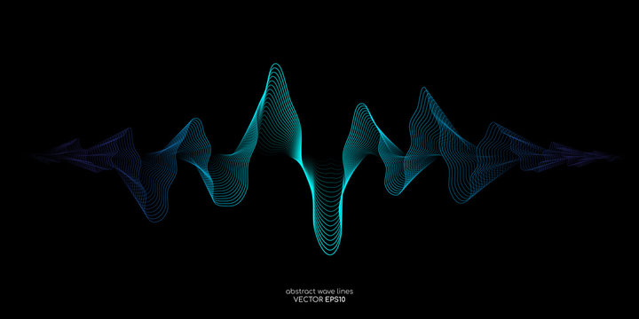 Vector sound wave lines dynamic in blue green color light flowing on black background for concept of music, sound, technology