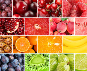 Background of fresh ripe color fruits
