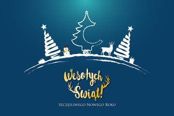 Polish Christmas and Happy New Year greeting card.