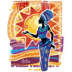 Fototapeta African woman in ethnic dress on ornament background obraz