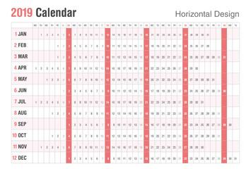 Horizontal 2019 Calendar design. Vector simple style. Sunday weekend.