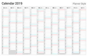 Calendar 2019 planner design. Vector simple style.