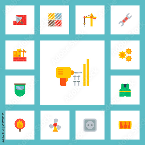 Set Of Industrial Icons Flat Style Symbols With Crane Tower Floor