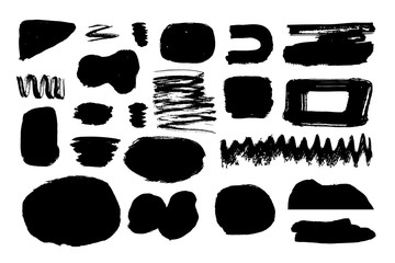 Set of brush shapes, strokes, lines with rough edges. Uneven background. Paint texture.