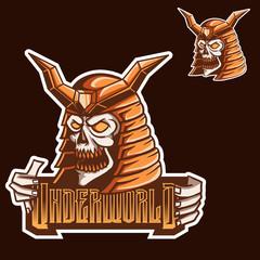 Samurai Skull Esports Logo for Mascot Gaming Twitch Template