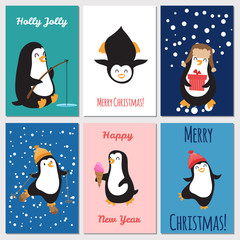 Holidays greetings cards vector template. Cute penguins Christmas cards design illustration