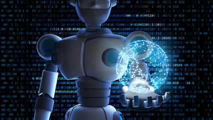 Robot holding the planet earth in virtual display isolated on binary data number background, Artificial intelligence in futuristic digital technology concept. 3d illustration