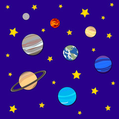 Vector Background with Planets and Stars, Cosmic Backdrop, Paper Art.