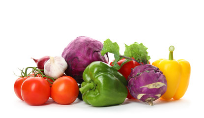 Keuken foto achterwand Groenten Heap of fresh ripe vegetables on white background. Organic food