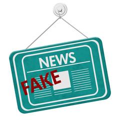 Fake News teal hanging sign