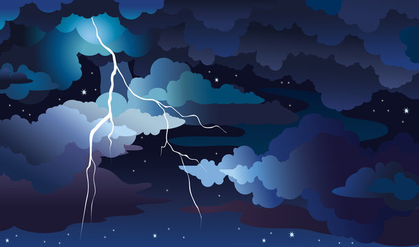 Night storm and lightning on a sky.