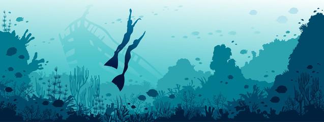 Underwater sea - freedivers, coral reef, fish, sunken ship