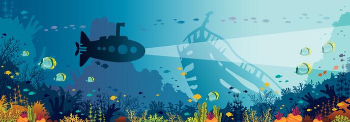 Underwater wildlife - coral reef, fish, submarine, sunken ship. Wall mural