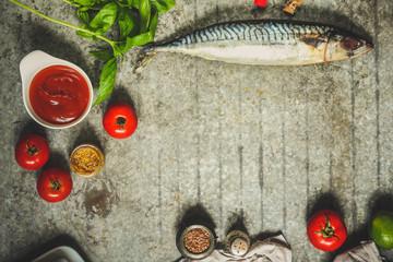 fish mackerel and nador ingredients. top view.