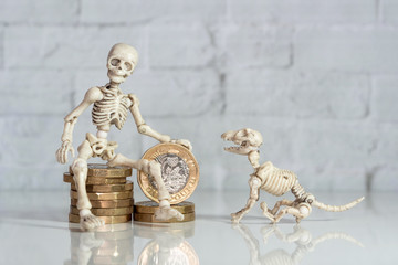 Skeleton sitting on pound coins with his pet dog