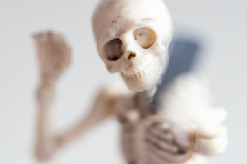 Selfie, skeleton taking self portrait with smartphone