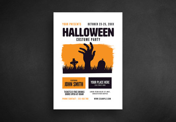 Halloween Party Flyer Layout with Zombie Hand Illustration