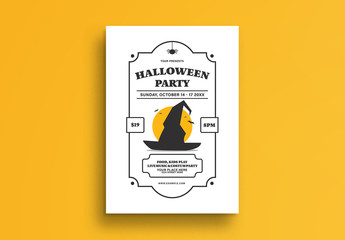 Halloween Party Flyer Layout with Witch Hat Illustration