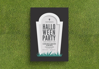 Halloween Party Flyer Layout with Tombstone Illustration