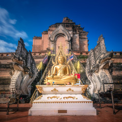 Buddhist temple Chiang Mai with dragons, Thailand