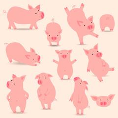 Funny pigs icon set. Eps 10.