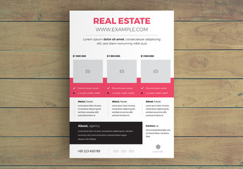 Real Estate Flyer Layout with Three Photo Placeholders