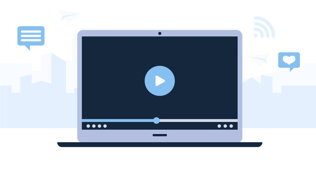 Video player on a grey laptop. Light blue background with tall buildings of the city. Modern technologies for business. Flat design