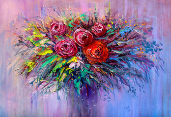 Beautiful red roses, painting