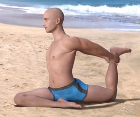 Bald man in blue briefs practising the pigeon, or eka hasta pada kapotasana yoga pose on a sandy beach, right leg forward. 3d render.