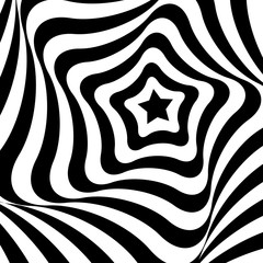 Geometric optical illusion black and white star on a white background. Vector illustration.