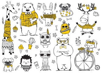 Vector set of cute doodle hipster giraffe, bears, deer, dog, cat, rabbits and tribal owl. Perfect for greeting card design, t-shirt print and kid's poster