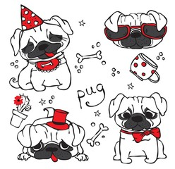 Vector illustration of 4 cute hand drawn pug