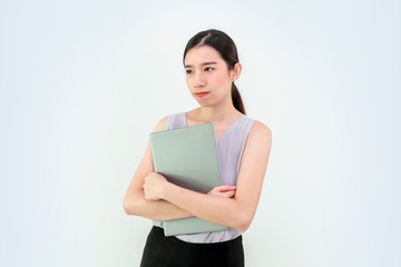 business woman with laptop, computer, Asian Business girl, Asia, Office