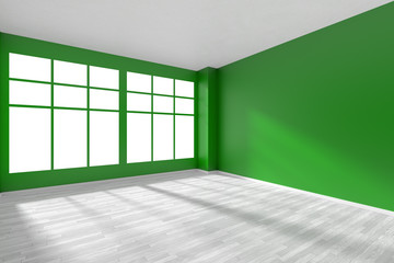 Empty dark green room with white floor and window