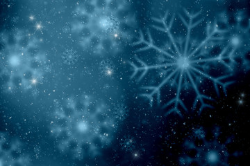 Dark blue colored blurry snowflakes illustration copy space background.