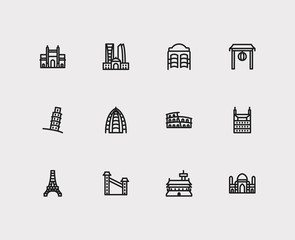 Travel icons set: mumbAI, rome, texas and china, dubAI, saloon set popular traveling cities with america vector icon illustration for app web mobile UI logo desing.
