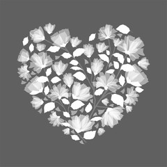 Heart made from, Flowers Clip art, in monotone grey .