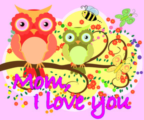 i love you mother day greeting card vector with owl graphic