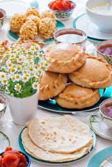 Traditional Tatar pastry - belesh, elesh, echpochmak, Chak-Chak, kystybyi, smetannik