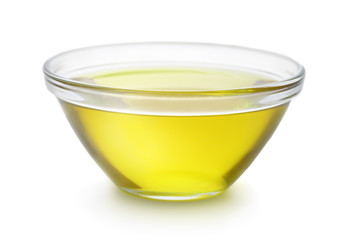 Glass bowl of olive oil
