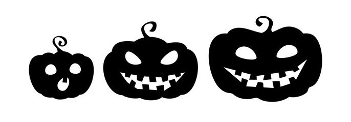 Pumpkin family. Collection of pumpkin cartoon characters silhouettes isolated on white background. Halloween emblems. Vector eps10.