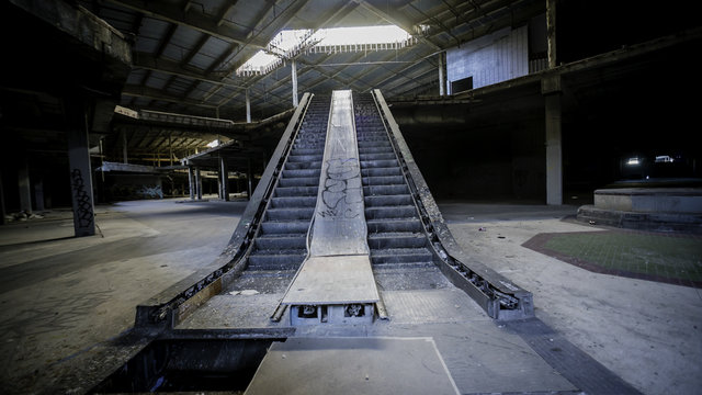 Abandoned Mall with Escalators