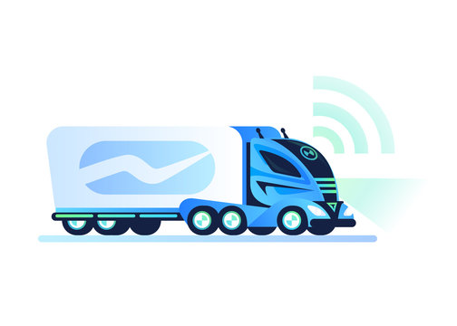 Autonomous self-driving truck on white background. Remote control vehicle. Unmanned truck, future futuristic car concept. Flat style vector illustration